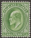 Falkland Islands 1911 KEVII ½d Deep Yellow-Green Thin Paper Mint SG43c