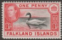 Falkland Islands 1938 KGVI 1d Black and Carmine Mint SG147