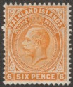 Falkland Islands 1912 KGV 6d Yellow-Orange Mint SG64