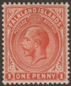 Falkland Islands 1924 KGV 1d Dull Vermilion Mint SG74