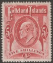 Falkland Islands 1904 KEVII 5sh Red Mint SG50