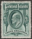 Falkland Islands 1907 KEVII 3sh Deep Green Mint SG49b w Variety Flying Triangle