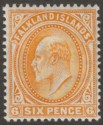 Falkland Islands 1904 KEVII 6d Orange Mint SG47