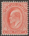 Falkland Islands 1904 KEVII 1d Vermilion Thin Paper Mint SG44