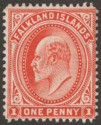 Falkland Islands 1911 KEVII 1d Orange-Vermilion Thin Paper Mint SG44e