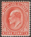 Falkland Islands 1908 KEVII 1d Bright Vermilion Thick Paper Mint SG44c