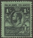 Falkland Islands 1929 KGV Whale and Penguins 1sh Black on Emerald Mint SG122