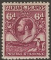 Falkland Islands 1929 KGV Whale and Penguins 6d Purple Mint SG121