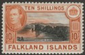 Falkland Islands 1938 KGVI 10sh Black and Orange-Brown Mint SG162