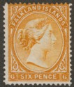 Falkland Islands 1891 QV 6d Orange-Yellow wmk Reversed Mint SG33x
