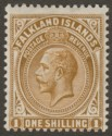 Falkland Islands 1921 KGV 1sh Deep Ochre Mint SG79
