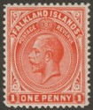 Falkland Islands 1914 KGV 1d Bright Orange-Vermilion Mint SG61a