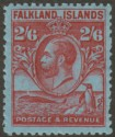 Falkland Islands 1929 KGV Whale and Penguins 2sh6d Carmine on Blue Mint SG123