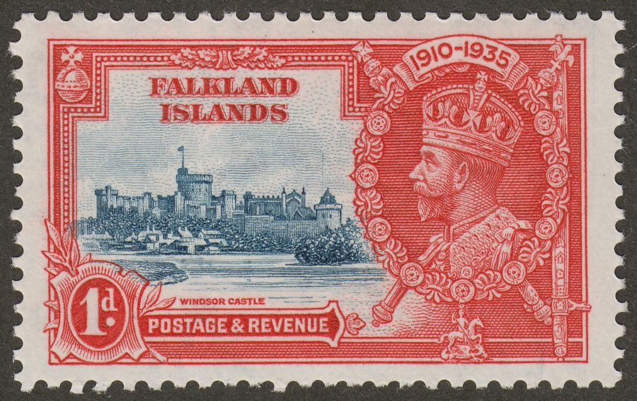 Falkland Islands 1935 KGV SJ 1d with Flagstaff on right-hand turret Mint SG139d