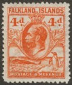 Falkland Islands 1932 KGV Whale and Penguins 4d Orange perf 14 Mint SG120