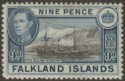 Falkland Islands 1944 KGVI 9d Brown-Black and Grey-Blue Mint SG157