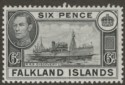 Falkland Islands 1949 KGVI 6d Black Mint SG156