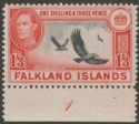 Falkland Islands 1946 KGVI Turkey Vultures 1sh3d Black + Carmine-Red Mint SG159