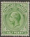 Falkland Islands 1912 KGV ½d Yellow-Green Mint SG60