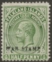 Falkland Islands 1918 KGV War Tax ½d Deep Olive Mint SG70