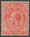 Falkland Islands 1920 KGV 1d Orange-Vermilion Mint SG61d