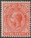 Falkland Islands 1919 KGV 1d Orange-Vermilion Mint SG61c