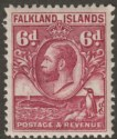 Falkland Islands 1936 KGV Whale and Penguins 6d Reddish Purple Mint SG121a