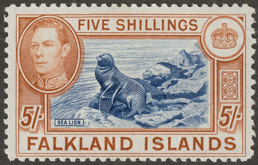 Falkland Islands 1938 KGVI 5sh Indigo and Pale Yellow-Brown Mint SG161b
