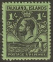 Falkland Islands 1936 KGV Whale + Penguins 1sh Black on Brt Emerald Mint SG122a