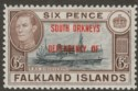 Falkland Islands Dependencies 1945 KGVI South Orkneys 6d Blue-Black Mint SG C6a