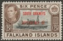 Falkland Islands Dependencies 1945 KGVI South Orkneys 6d Black + Brn Mint SG C6