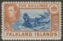Falkland Islands 1949 KGVI 5sh Dull Blue and Yellow-Brown Mint SG161c cat £120
