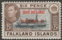Falkland Islands Dependencies 1945 KGVI South Shetland 6d Blue-Black Mint SG D6a