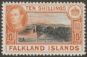 Falkland Islands 1942 KGVI 10sh Black and Orange Mint SG162a