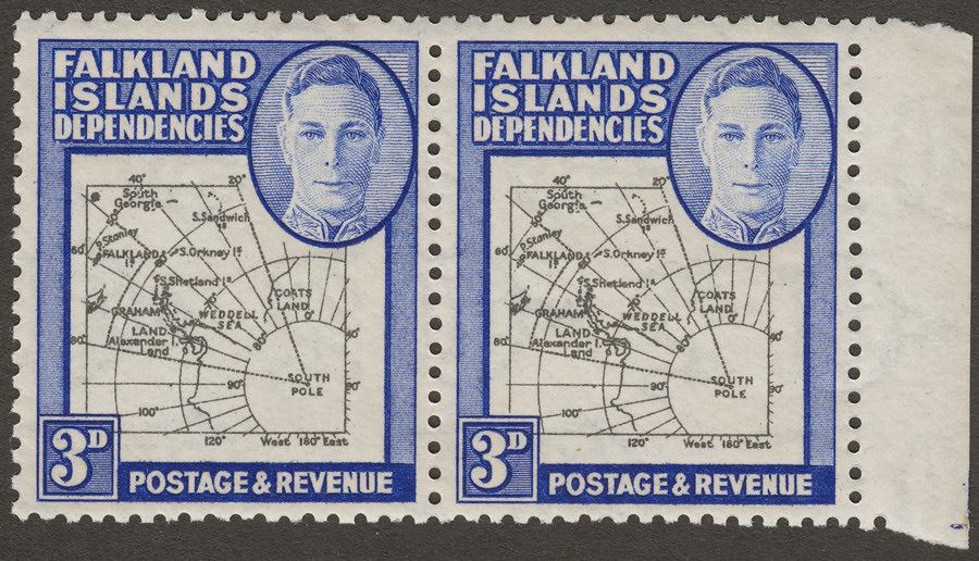 Falkland Islands Dependencies 1946 KGVI 3d w Variety Extra Island Mint SG G4aa