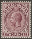 Falkland Islands 1914 KGV 2d Deep Reddish Purple Line Perf Mint SG62a