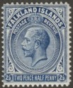 Falkland Islands 1916 KGV 2½d Deep Milky Blue Line Perf Mint SG63b