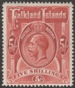 Falkland Islands 1912 KGV 5sh Deep Rose-Red Mint SG67