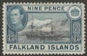 Falkland Islands 1937 KGVI 9d Black and Grey-Blue Mint SG157
