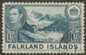 Falkland Islands 1938 KGVI 1sh Dull Greenish Blue Used SG158a