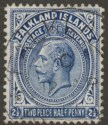 Falkland Islands 1914 KGV 2½d Deep Bright Blue Line Perf Used SG63a