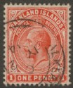 Falkland Islands 1912 KGV 1d Orange-Red Used SG61