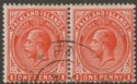Falkland Islands 1920 KGV 1d Orange-Vermilion Pair Used SG61d