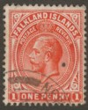 Falkland Islands c1912 KGV 1d Used with part NEW ISLAND Postmark