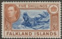 Falkland Islands 1950 KGVI 5sh Steel Blue and Brown-Buff Mint SG161d cat £425