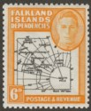 Falkland Islands Dependencies 1946 KGVI 6d w Variety Dot By Oval Mint SG G6d