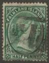 Falkland Islands 1892 QV ½d Green Used SG16 with Pointed Nose FI Cork Postmark