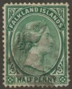Falkland Islands 1892 QV ½d Green Used SG16 with light Cork Postmark