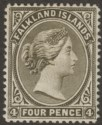 Falkland Islands 1895 QV 4d Olive-Black Mint SG32 cat £16 with shallow thins