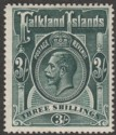 Falkland Islands 1912 KGV 3sh Slate-Green Mint SG66